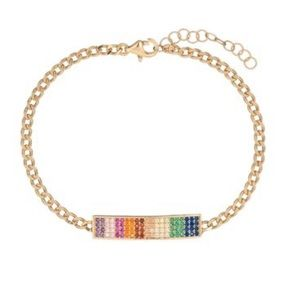 SWAROVSKI ELEMENTS 14K GOLD CHAIN LINK BRACELET